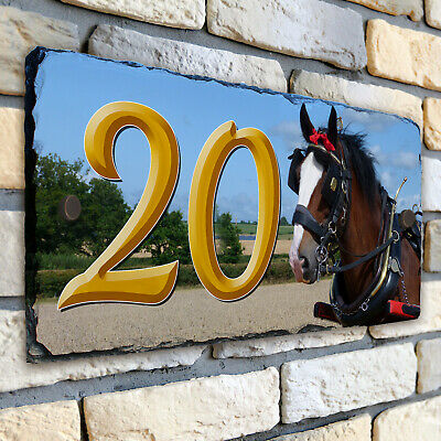 Shire Horse House Number Slate Name Sign Plaque Door Personalised Gift SL55 • 22.95£