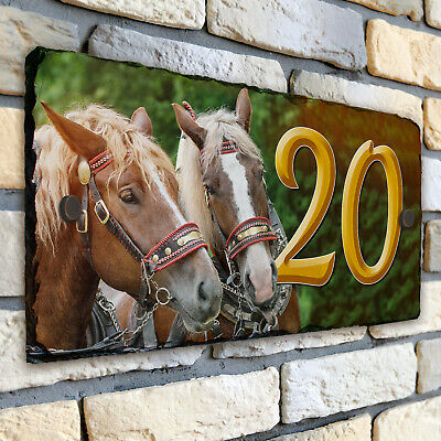 Shire Horse House Number Slate Name Sign Plaque Door Personalised Gift SL56 • 22.95£