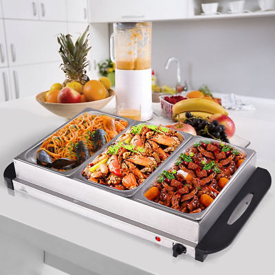 Food Warmer Buffet Server Hot Plate 3 Tray Adjustable Temperature 300W Party • 37.55£