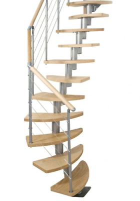 £889.99 • Buy Space Saving Staircase - Modular Grand Wooden Steel Stair Case - Handrail