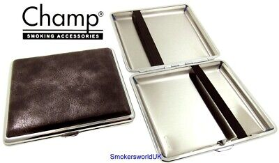 Cigarette Case -- Champ Vintage Leatherette Charcoal 20 King Size -- NEW Chks27 • 6.49£