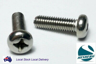 AU4.60 • Buy M4 M5 M6 M8 Coarse Thread Pan Head Stainless Steel Machine Screw Phillip Bolt