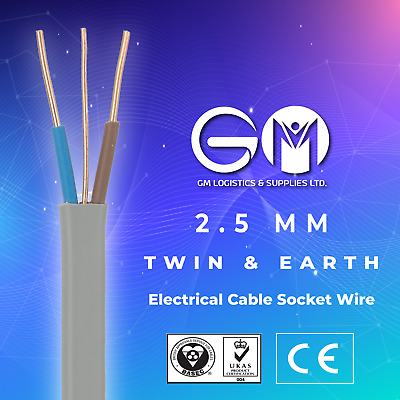 2.5mm Twin And Earth Quality Electric Cable Socket Electric Wire 6242Y  • 1.99£