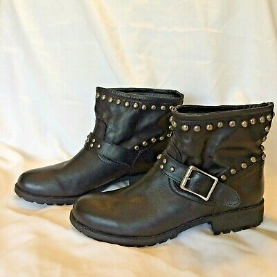 $ CDN50.95 • Buy Kelsi Dagger Ankle Boot MAX Black Leather Biker Studded Buckles Size 10 M