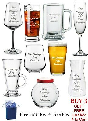 £8.99 • Buy Personalised Glass Fathers Dad Mothers Day Christmas Mum Birthday Xmas Gift