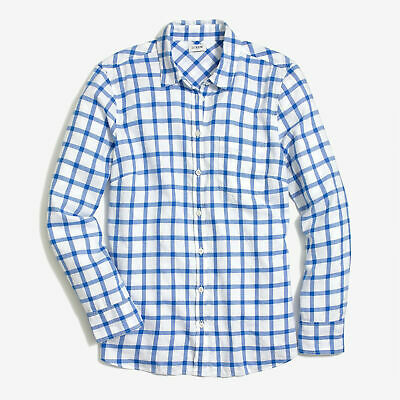 $20.85 • Buy New Women's J. Crew Flannel Blue Windowpane Boy Fit Button Down Shirt X-Large