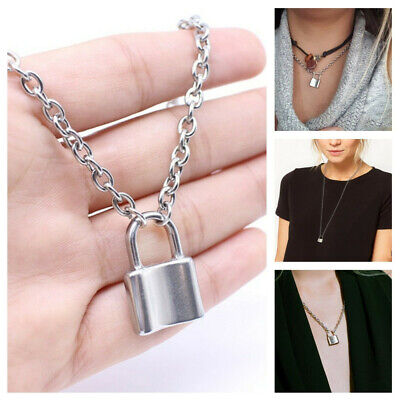 $0.70 • Buy Fashion Lock Pendant Padlock Charm Gold Necklace Chain For Women Jewelry