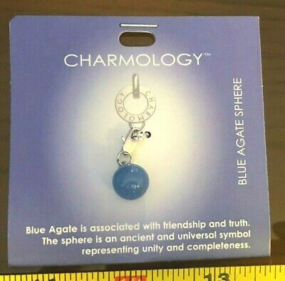 Pendant Charm Charmology Sphere Blue Agate Stone Birthstone Star Sign New • 3£
