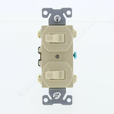 New Eaton Electric Ivory DOUBLE Light Switch Duplex 3-Way Toggle 15A 276V Boxed • 8.49$