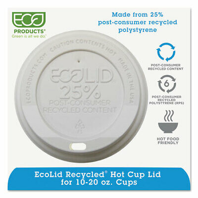 Ecolid 25% Recy Content Hot Cup Lid, White, F/10-20Oz, 100/Pk, 10 Pk/Ct • 66.29£