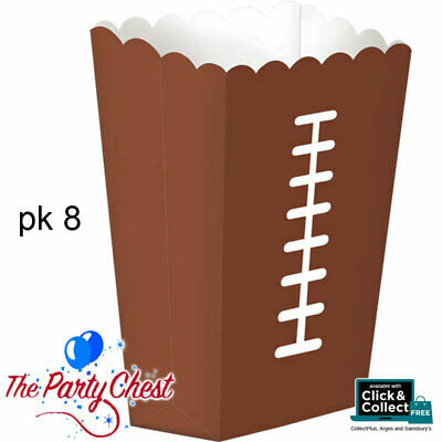 8 AMERICAN FOOTBALL POPCORN BOXES Brown NFL Football Party Tableware 290025 • 5.55£
