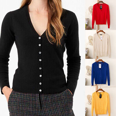 £9.99 • Buy Women V-Neck Cardigan Button Down Long Sleeve Soft Knit Sweater Ladies Size 6-20