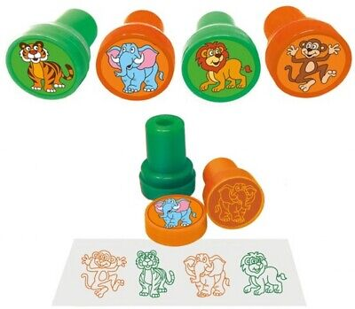 6 Jungle Ink Stamps - Pinata Toy Loot/Party Bag Fillers Childrens/Kids Animal • 2.49£