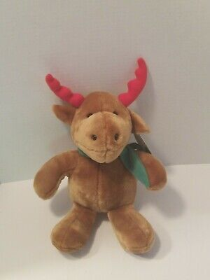 $12.95 • Buy Stuffed Reindeer Plush Soft Toy 10 Inch Green Scarf Nice Antlers, New With Tags!