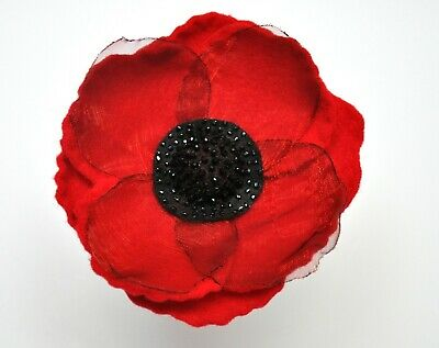 £20 • Buy Poppy Brooch / Corsage Flower With Glass Beads 10cm Diameter