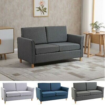 £179.99 • Buy Double Seat Sofa Compact Loveseat Couch 2 Seater Armrest Linen Upholstery