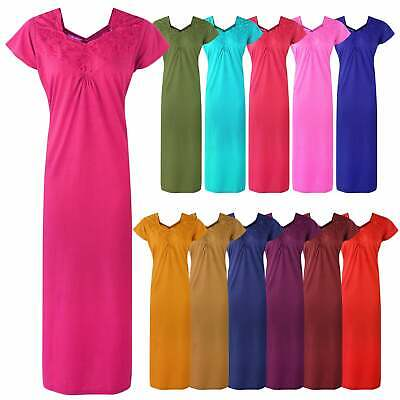 Women Long 100% Cotton Nighty Womens Nightdress Kaftan Lounger Nightshirt • 17.99£