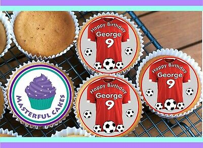 24 Personalised Liverpool Colour Shirt Cupcake Topper Rice,wafer,icing & Precut • 2.70£