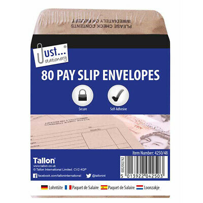 £4.49 • Buy 80 Wage Packets - Brown Office Stationery Work Pay Slip Envelopes Safe Employer