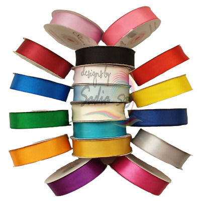 Satin Ribbon Rolls Double Sided 3mm 10mm 16mm 25mm 36mm Width Variety Of Colours • 2.49£