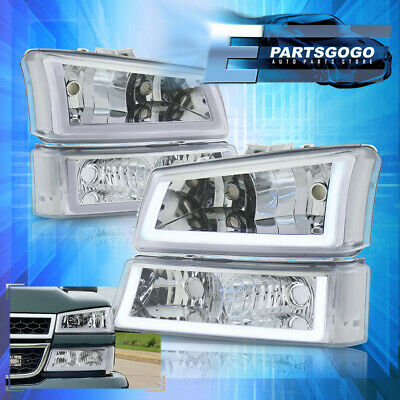 $216.99 • Buy For 03-07 Silverado LED DRL Chrome Housing Clear Headlights + Bumper Lamps Pair