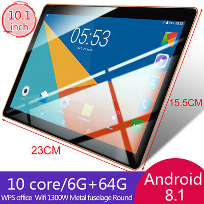 AU75.49 • Buy 10.1 Inch Bluetooth Android8.1 Tablet 6+64GB GPS Bluetooth Phablet Dual SIM Card