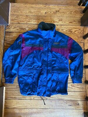 $29.99 • Buy Vintage Descente Mens Large Ski Jacket Blue Purple Vented Zipper Built In Hood