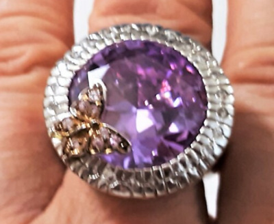 $78.99 • Buy Enormous Charles Winston Amethyst CZ Sterling Silver Cocktail Ring Size 10.5