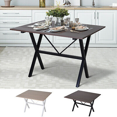 £55.99 • Buy Dining Table Folding Expandable Drop Leaf  Metal Frame MDF Top Up To 6 Person
