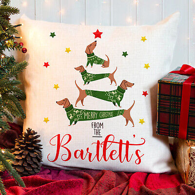 £12.95 • Buy Personalised Dachshund Christmas Cushion Family Cover Festive Home Gift KCC07