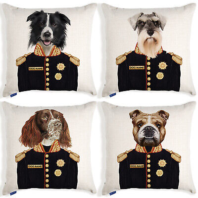 Personalised Dog Portrait Cushion Cover Uniform Military Birthday Christmas Gift • 12.95£