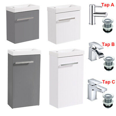 Bathroom Sink Vanity Unit Cloakroom Compact Cabinet Basin Mixer Tap With Waste • 98.99£