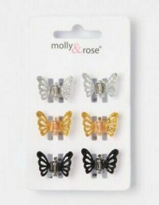 £2.99 • Buy Ladies Girls 6 Pack Glitter Butterfly Mini Hair Clips Clamps Silver Gold Black