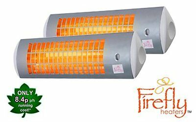 2 Firefly Wall Mounted Electric Patio Heater Halogen Tube Quartz Garden Outdoor • 89.99£