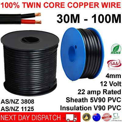 AU69.95 • Buy New 4mm Twin Core Automotive Battery Copper Cable 4 Dual 2 Wire 12v 30 100 Metre