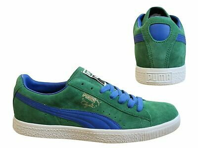 Puma Clyde Script Green Blue Leather Suede Lace Up Mens Trainers 351907 18 B24B • 39.99£