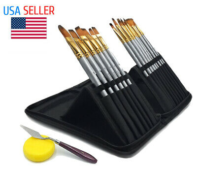 £17.10 • Buy Artist Paint Brush Set Case Watercolor Oil Acrylic Painting Knife Paint Brushes