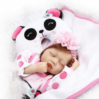 $ CDN45.97 • Buy 22'' Reborn Dolls Soft Vinyl Silicone Handmade Sleeping Baby Girl Cloth Body