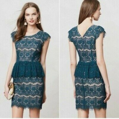 $ CDN59 • Buy Maeve Teal Dress Sz S Modcloth Anthropologie Lace Overlay Party Cocktail