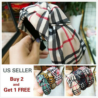 $7.59 • Buy Headband Women  Plaid Fashion Turban Striped Hair Band Plaid