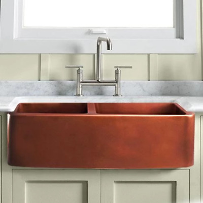 $1092 • Buy 33  Warwick Smooth Copper 60/40 Offset Double-Bowl Farmhouse Sink