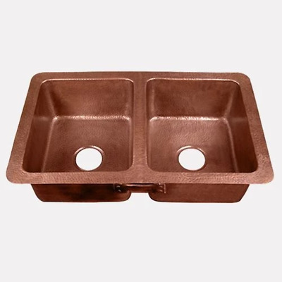 $928 • Buy 34  Revere Hammered Copper Double-Bowl Kitchen Sink