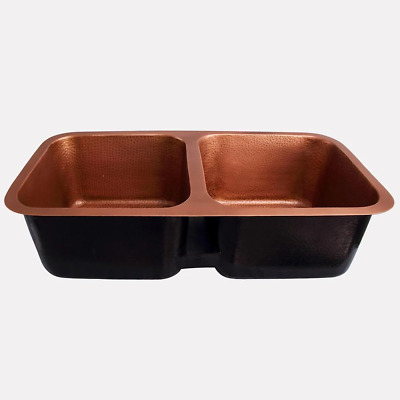 $1083 • Buy 35  Lisbon Hammered Copper Double-Bowl Undermount Sink