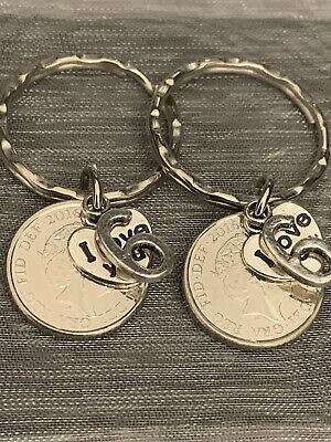 £6.99 • Buy New Pair Of Polished 2015 5p Coins 6th Wedding Anniversary Gift Keyrings In Bag