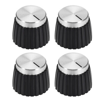 $ CDN12.07 • Buy 4pcs Potentiometer Amplifier Knob Black With Silver Tone Cap Volume Control Knob