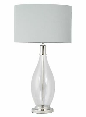 £39.99 • Buy Contemporary Large 55cm Glass & Chrome Table Lamp Bedside Light Grey Linen Shade