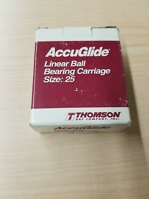$109.99 • Buy New Thomson AccuGlide Linear Rail Ball Bearing Carriage Size 25 CG25AABN