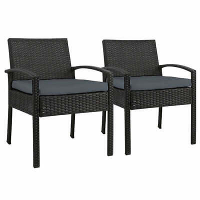 AU168.16 • Buy Set Of 2 Outdoor Dining Chairs Wicker Chair Patio Garden Furniture Lounge Settin