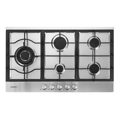 AU270.34 • Buy Devanti Gas Cooktop 90cm Kitchen Stove Cooker 5 Burner Stainless Steel NG/LPG Si