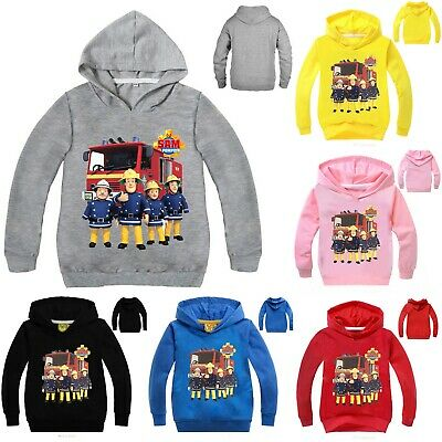 Boys Fireman Sam Pullover Hoodie Cosplay Hooded Sweatshirt Jumper Cartoon Jacket • 6.19£